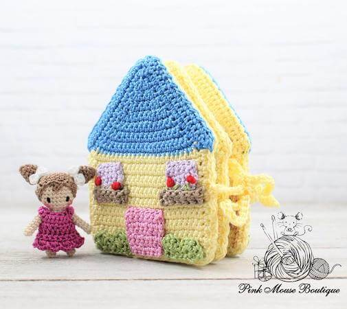 Emma And Her Dollhouse Toy Crochet Pattern by Pink Mouse Boutique
