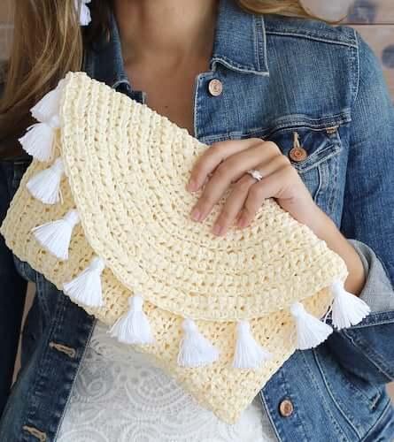 Evelyn Crochet Summer Clutch Pattern by Lakeside Loops