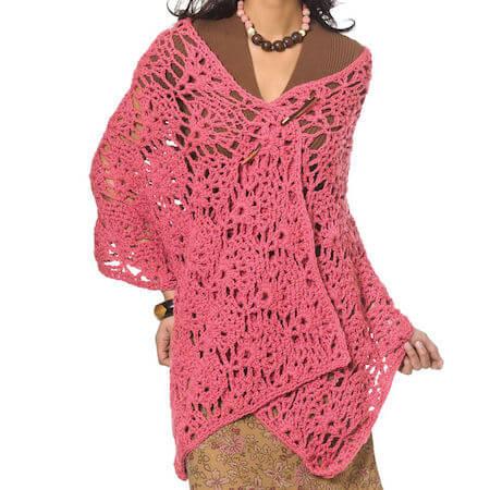 Fancy Shells Wrap Crochet Pattern by Yarnspirations