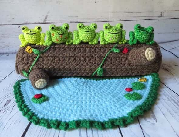 Five Green And Speckled Frogs Crochet Pattern by On A Whim By Lynn