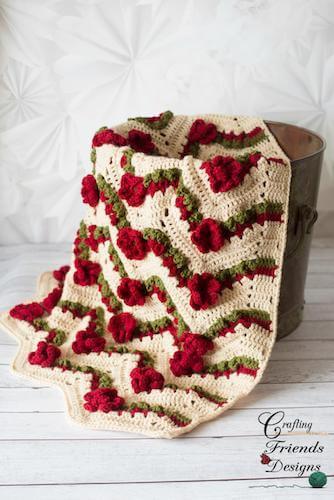 Flower Garden Chevron Blanket Crochet Pattern by Crafting Friends Designs