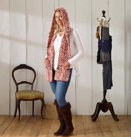 Glacier Hooded Scarf Crochet Pattern by MJ's Off The Hook Designs