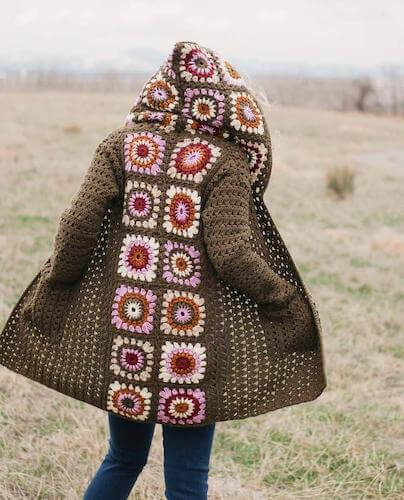 Granny Square Cardigan Crochet Pattern by Make And Do Crew