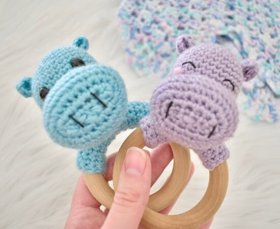 Hippo Rattle Teether Ring Crochet Pattern by A Purpose And A Stitch