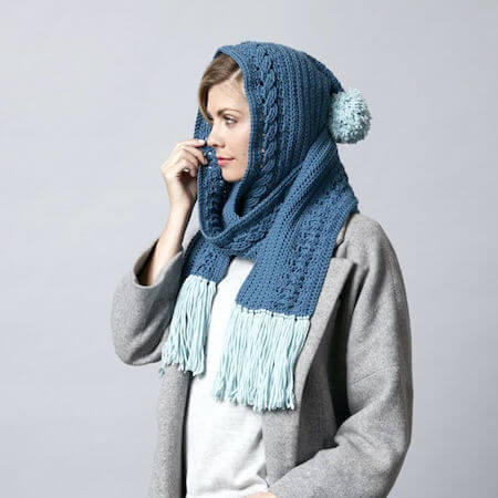 Hooded Cable Crochet Scarf Pattern by Yarnspirations