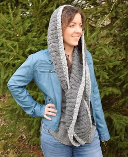 Hooded Keyhole Scarf Crochet Pattern by Simply Hooked By Janet
