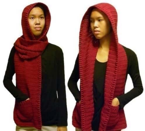 Hooded Scarf Crochet Pattern by Crochet Spot Patterns