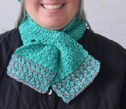 In The Neighborhood Keyhole Scarf Crochet Pattern by Underground Crafter