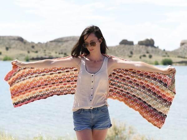 Isla Scalloped Wrap Crochet Pattern by Mama In A Stitch