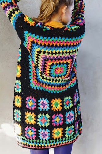 Kaleidoscope Granny Square Cardigan Crochet Pattern by The Missing Yarn