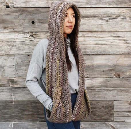 Kodiak Hooded Pocket Scarf Crochet Pattern by Two Of Wands