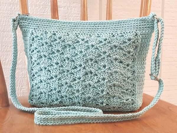 Lace Panel Crossbody Bag Crochet Pattern by Kathy's Crochet Closet
