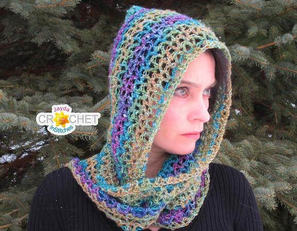 Luxe Hooded Scarf Crochet Pattern by Jayda In Stitches