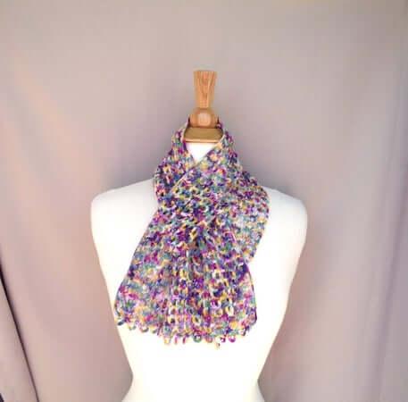 Mesh Lace Keyhole Scarf Crochet Pattern by Girl Power Designs