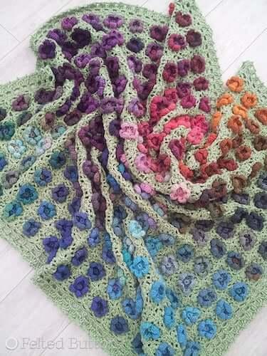 Monet's Garden Throw Crochet Pattern by Felted Button