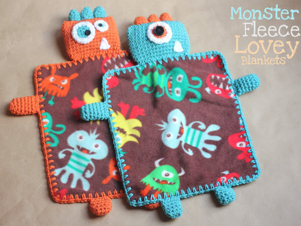 Monster Fleece Lovey Blankets Crochet Pattern by Repeat Crafter Me