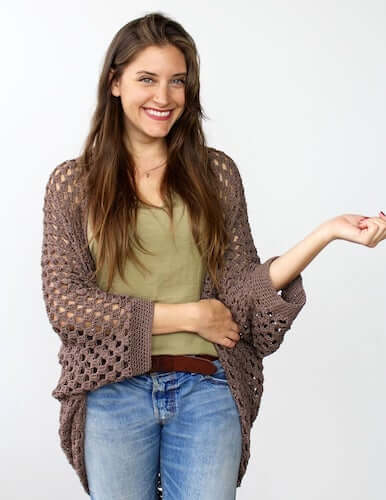 Movie Night Cocoon Cardigan Crochet Pattern by Two Of Wands Shop