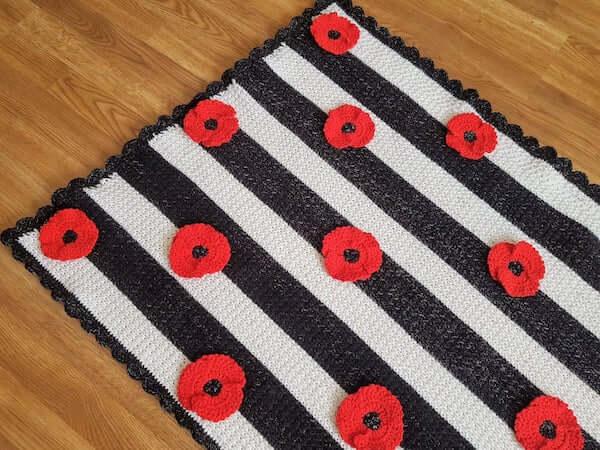 Poppy Flower Blanket Crochet Pattern by Crafting Happiness UK