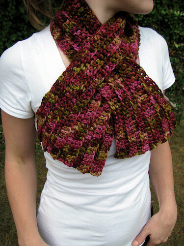 Ribbed Keyhole Scarf Crochet Pattern by Life Adorned