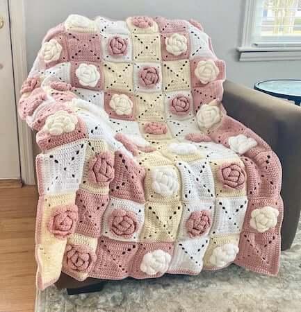 Rose Afghan Square Crochet Flower Pattern by Crafty Kitty Crochet