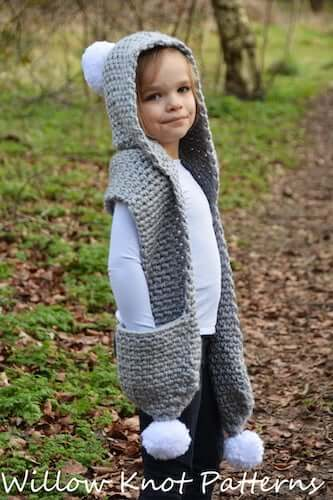 Snowdrift Hooded Scarf Crochet Pattern by Willow Knot Patterns