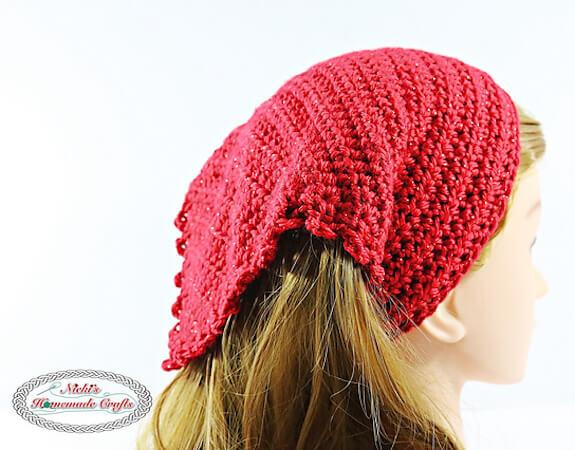 Summer Picot Head Kerchief Crochet Pattern by Nicki's Homemade Crafts