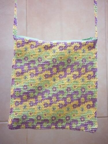 Swirls Tapestry Crochet Shoulder Bag Pattern by Rebeckah Ferger