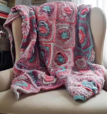 Tinted Mayapple Flower Blanket Crochet Pattern by Underground Crafter
