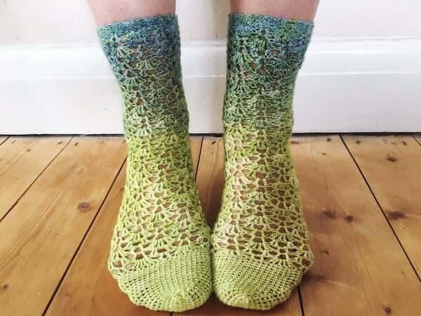 Trailing Lace Socks Crochet Pattern by Vicki Brown Designs