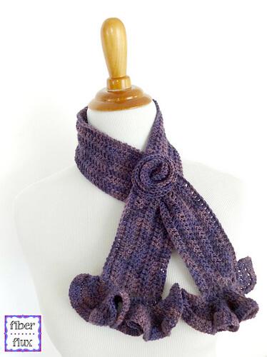 Vintage Blossom Keyhole Scarf Crochet Pattern by Fiber Flux