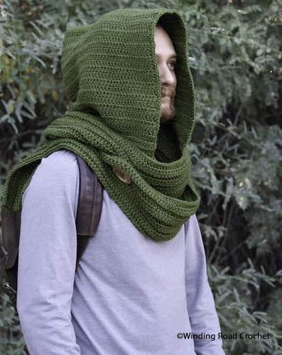 Wanderer's Crochet Hooded Scarf Pattern by Winding Road Crochet