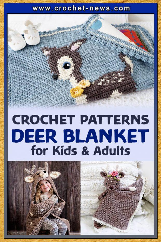 CROCHET DEER BLANKET PATTERN FOR KIDS AND ADULTS