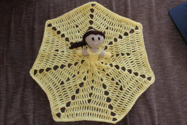 Crochet Belle Lovey Blanket Beauty and the Beast Pattern by BoredMamaCroche