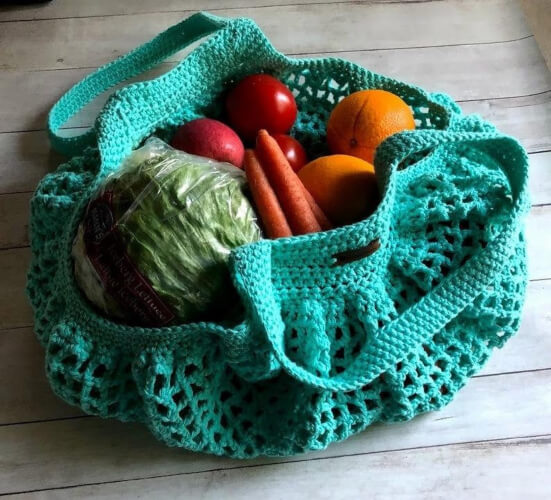Crochet Eco Friendly French Mesh Bag Pattern by Hanias Creations 1