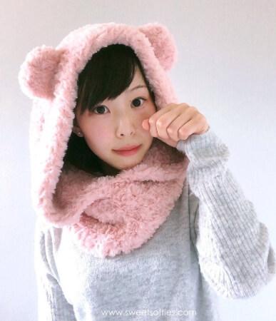 Crochet Fluffy Hooded Bear Cowl Pattern by Sylemn