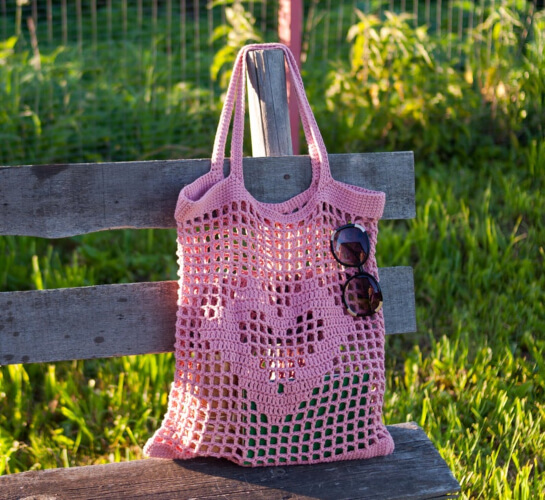 Crochet Mesh Laundry Bag Pattern by Crocheted Cotton Thing