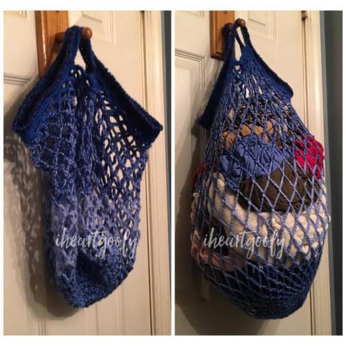 Crochet Mesh Laundry Bag Pattern by I Love Goofy