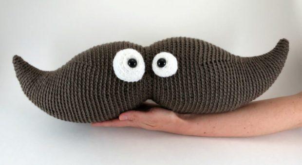 Crochet Moustache Pillow Pattern by Hookbee