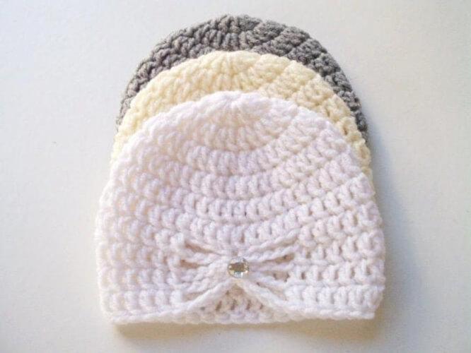 Crochet Turban Butterfly Beanie Hat Pattern by MeAndCrochetUS