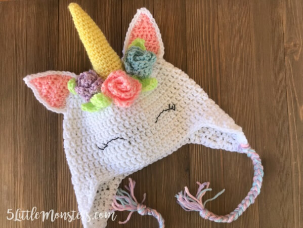 Crocheted Unicorn Hat with Flowers from 5 Little Monsters