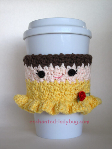 Free Crochet Belle Coffee Cup Cozy Pattern by Enchanted Ladybug