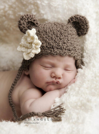 Little Bear Hat with Optional Flower Crochet Pattern by SunsetCrochet