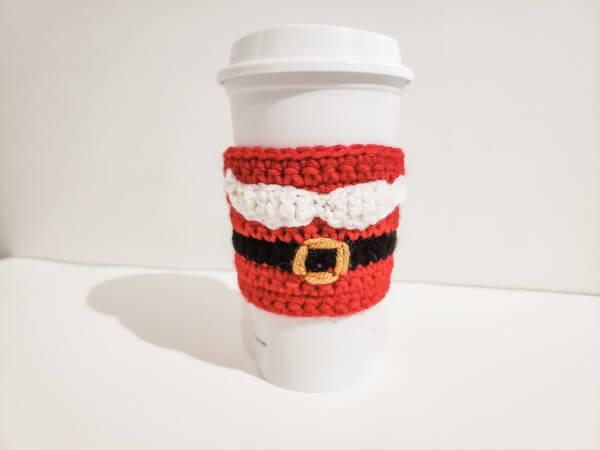 Santa Mustache Coffee Cozy Crochet Pattern by HCCrochets