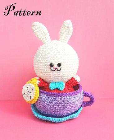White Rabbit & Tea Cup Alice in Wonderland Crochet Pattern by OctopusCart