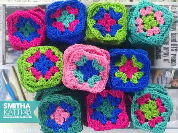 Basic Crochet Granny Square Pattern by Smiling Colors