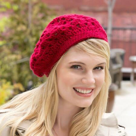 Red Heart Bridgette Free Crochet Beret Pattern by Yarnspiration