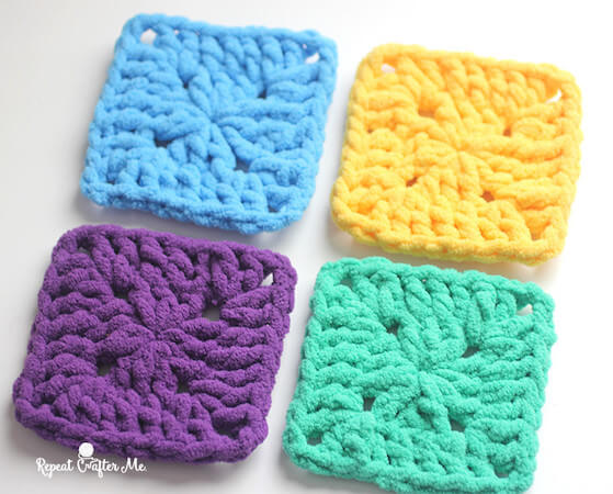 Bright And Bulky Crochet Squares Pattern by Repeat Crafter Me