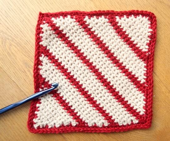 Crochet Candy Cane Blanket Square Pattern by Knitting With Chopsticks