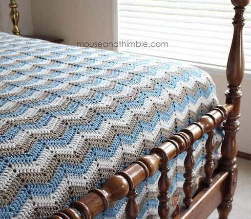 Chevron Crochet Bedspread Pattern by Mouse And Thimble
