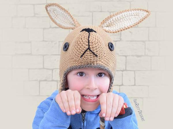 Crochet Kangaroo Hat Pattern by Ira Rott Patterns
